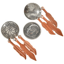 Silver Concho Copper Feather Dangles 23862