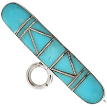 Inlaid Turquoise Silver Bar Pin 29617