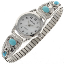 Ladies Genuine Turquoise Silver Watch 23036
