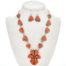 Coral Navajo Link Necklace Set 29701