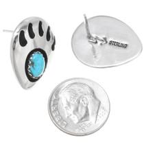Navajo Turquoise Bear Paw Earrings 24579