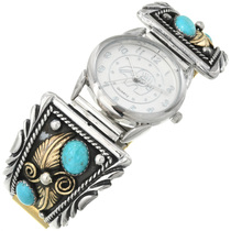 Navajo Turquoise Gold Silver Watch 28916