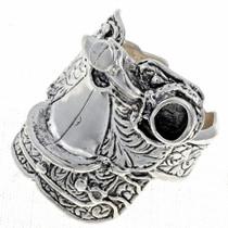 Mens Silver Saddle Ring 24757