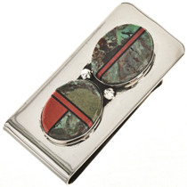Navajo Green Turquoise Silver Money Clip 23919