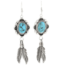 Navajo Kingman Turquoise Feather Earrings 26941