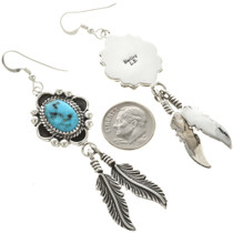 Native American Turquoise Silver Feather Dangle Earrings 26941