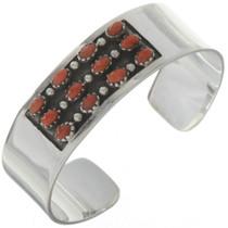 Native American Coral Silver Cuff 11410