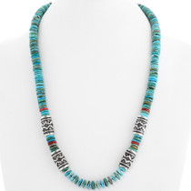 Kingman Turquoise Coral Singer Style Necklace 29584