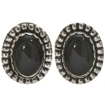 Black Onyx Silver Stud Earrings 28622