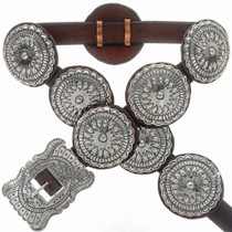 Native American Silver Concho Belt 28949
