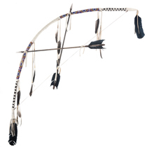 Indian Beaded Buckskin Bow and Arrows 30223