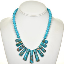 Jasper Turquoise Infused Fringe Necklace 28705