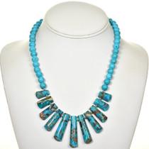 Jasper Turquoise Infused Fringe Necklace 28705