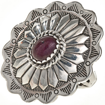 Ruby Silver Navajo Concho Ring 28946