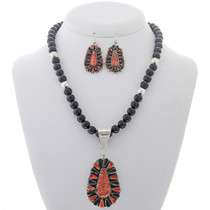 Spiny Oyster Onyx Pendant Bead Necklace Set 27980