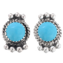 Kingman Turquoise Silver Navajo Earrings 27402