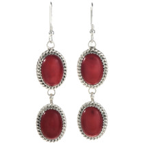 Native American Coral Silver Earrings 29065