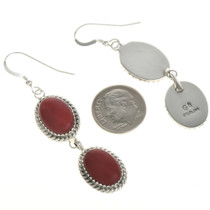 Navajo Coral Silver French Hook Earrings 29065