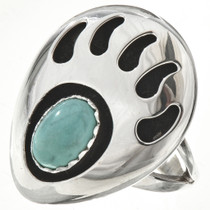 Turquoise Silver Bear Paw Ring 29081