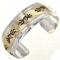 Kokopelli Gold Silver Bracelet Cuff 10782