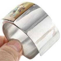 Zuni Inlaid Silver Bracelet Artist Signed 28019