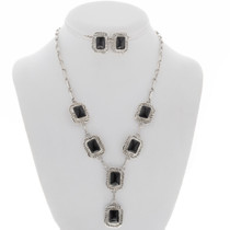 Black Onyx Silver Y Necklace Set 27860