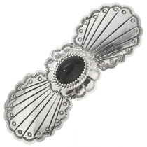 Black Onyx Silver Hair Barrette 29351