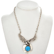 Turquoise Silver Eagle Necklace