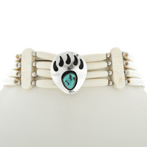 Turquoise Silver Bear Paw Choker 15243