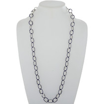Lapis Inlaid Silver Link Chain Necklace 27728