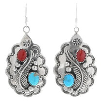 Navajo Turquoise Coral Earrings 25812