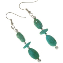 Natural Turquoise Silver Earrings 28304