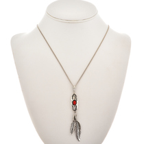 Coral or Turquoise Silver Feather Pendant 26947