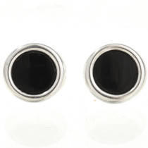 Black Onyx Silver Stud Earrings 28005