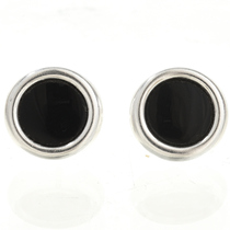 Black Onyx Silver Stud Earrings 28005