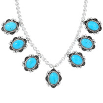Blue Turquoise Silver Bead Necklace 28913