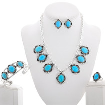 Turquoise Silver Bead Necklace Set 28913