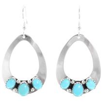 Navajo Natural Turquoise Silver Teardrop Earrings 28828