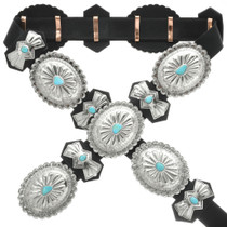 Turquoise Silver Concho Belt 27504