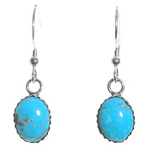 Turquoise Silver French Hook Earrings 28458