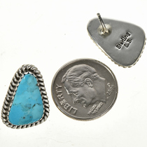 Kingman Turquoise Silver Indian Earrings 29246