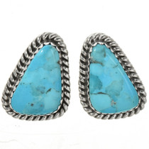 Turquoise Silver Navajo Post Earrings 29246