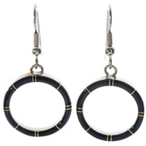 Inlaid Black Jet Small Hoop Earrings 19703