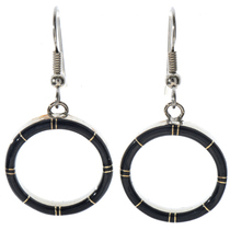 Inlaid Black Jet Small Hoop Earrings 19703