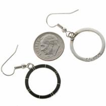 Inlaid Silver Navajo Dangle Earrings 19703