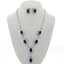 Navajo Lapis Silver Y Necklace Set 27778