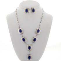 Navajo Lapis Silver Y Necklace Set 27778