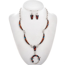 Inlaid Shell Jet Opal Silver Necklace Set 29567