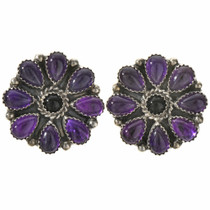 Amethyst Onyx Navajo Cluster Earrings 28872