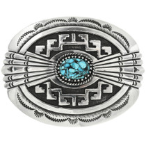 Navajo Turquoise Nugget Sterling Buckle 26249